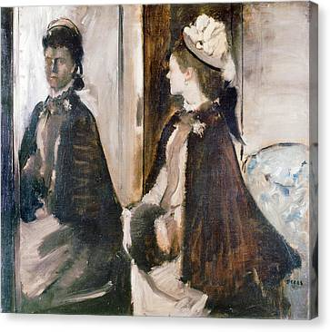 Mrs Jeantaud In The Mirror Canvas Print by Edgar Degas