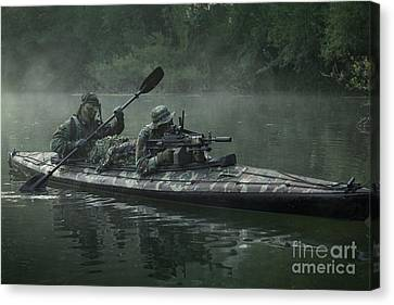 Navy Seals Navigate The Waters Canvas Print by Tom Weber
