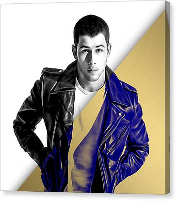 Nick Jonas Collection Canvas Print by Marvin Blaine
