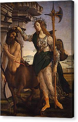 Pallas And The Centaur Canvas Print by Sandro Botticelli