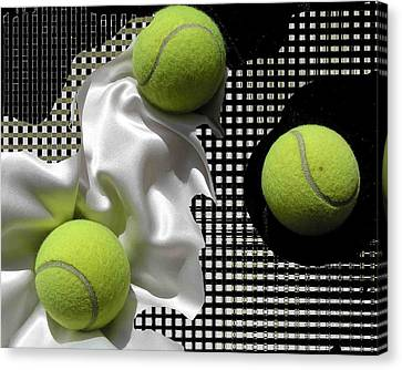 3 Tennis Balls Canvas Print by Evguenia Men