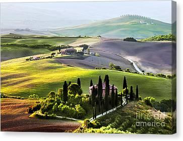 Tuscany Landscape At Sunrise Canvas Print by Michal Bednarek