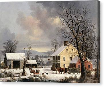 Winter In The Country Canvas Print by George Henry Durrie