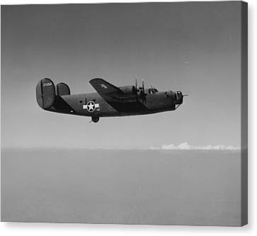Wwii Us Aircraft In Flight Canvas Print by American School