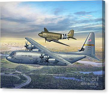 314th Maw Legacy - C-130j And C-47 Canvas Print by Stu Shepherd