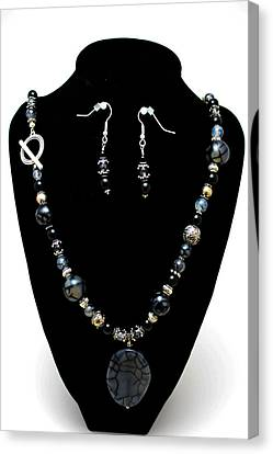 3545 Black Cracked Agate Necklace And Earring Set Canvas Print by Teresa Mucha