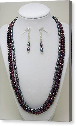 3562 Triple Strand Freshwater Pearl Necklace Set Canvas Print by Teresa Mucha