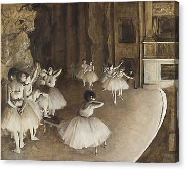 Ballet Rehearsal On Stage Canvas Print by Edgar Degas