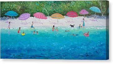 Beach Umbrellas Canvas Print by Jan Matson