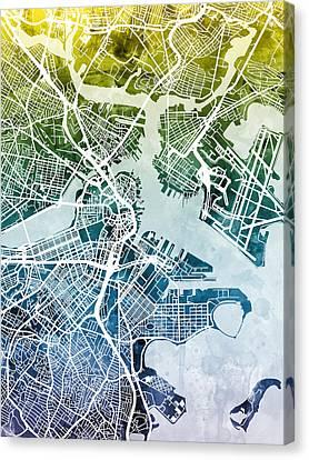 Boston Massachusetts Street Map Canvas Print by Michael Tompsett