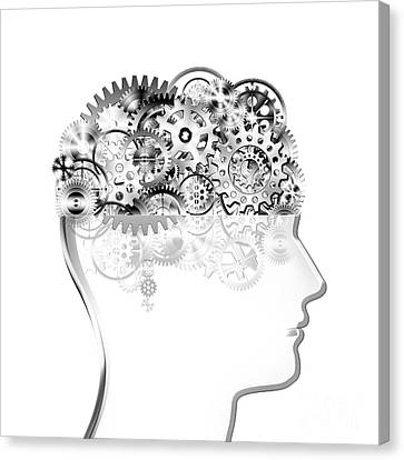 Brain Design By Cogs And Gears Canvas Print by Setsiri Silapasuwanchai