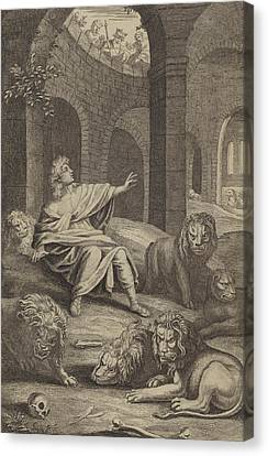 Daniel In The Lions' Den Canvas Print by English School