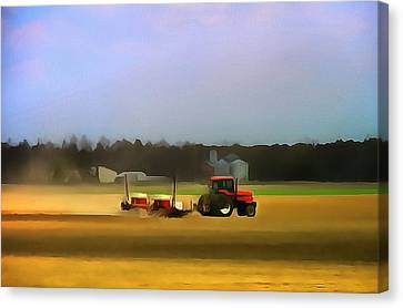 Red Tractor On The Farm Canvas Print by Dan Sproul