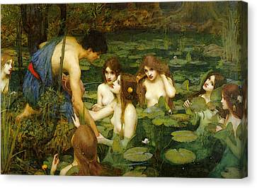 Hylas And The Nymphs Canvas Print by John William Waterhouse