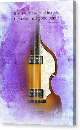 Mccartney Hofner Bass, Vintage Background, Gift For Musicians, Inspirational Quote Canvas Print by Pablo Franchi