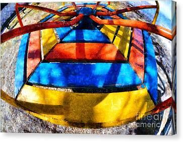 Merry-go-round In Children Playground Canvas Print by George Atsametakis