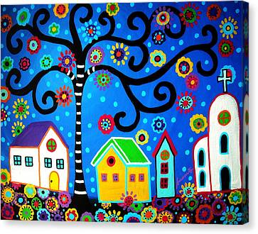 Mexican Town Canvas Print by Pristine Cartera Turkus
