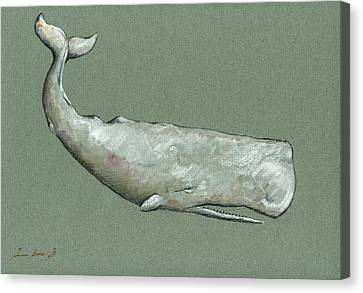 Moby Dick The White Sperm Whale  Canvas Print by Juan  Bosco