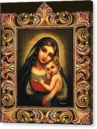 Oval Madonna Canvas Print by Ananda Vdovic
