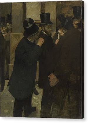 Portraits At The Stock Exchange  Canvas Print by Edgar Degas
