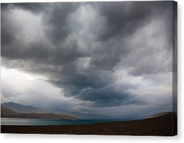 Storm On Karakul Lake Canvas Print by Konstantin Dikovsky