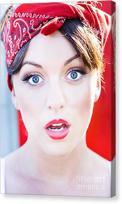 Surprised Woman Canvas Print by Jorgo Photography - Wall Art Gallery