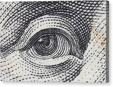 Us 100 Dollar Bill Security Features Canvas Print by Ted Kinsman
