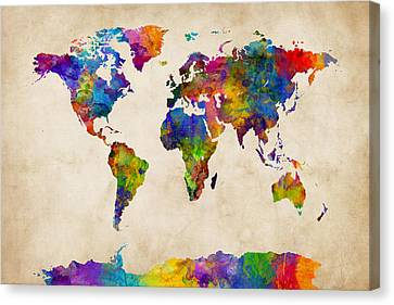 Watercolor Map Of The World Map Canvas Print by Michael Tompsett