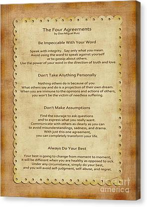 41- The Four Agreements Canvas Print by Joseph Keane