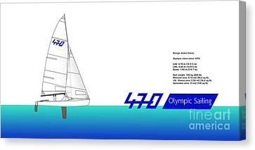 470 Olympic Sailing Canvas Print by Jan Brons
