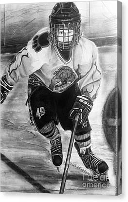 #48 Andrew Savona Squirt Aa Hatfield Ice Dogs Canvas Print by Gary Reising