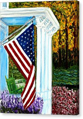 4th Of July American Flag Home Of The Brave Canvas Print by Katy Hawk