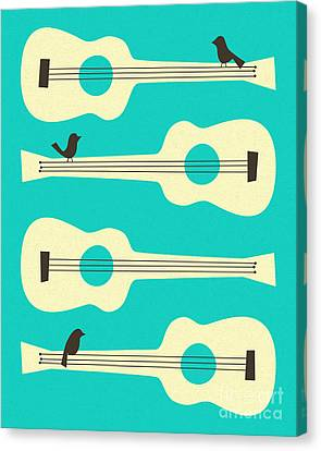 Birds On Guitar Strings Canvas Print by Jazzberry Blue