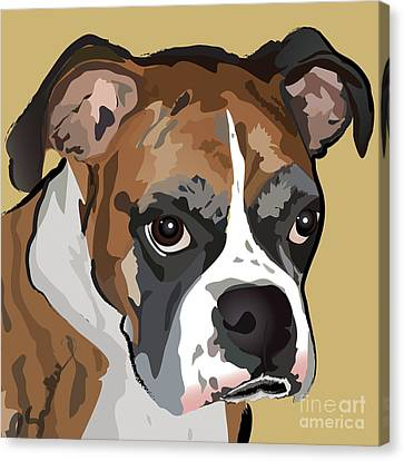 Boxer Dog Portrait Canvas Print by Robyn Saunders