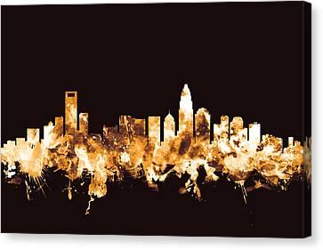 Charlotte North Carolina Skyline Canvas Print by Michael Tompsett
