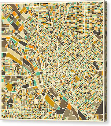 Dallas Map Canvas Print by Jazzberry Blue