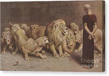Daniel In The Lions Den Canvas Print by Briton Riviere