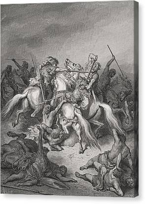 Engraving From The The Dore Bible Canvas Print by Vintage Design Pics