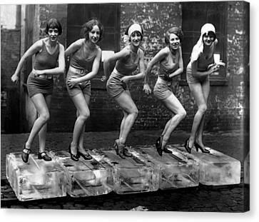 5 Flappers On Ice - Roaring Twenties Canvas Print by Daniel Hagerman