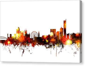 Manchester England Skyline Canvas Print by Michael Tompsett