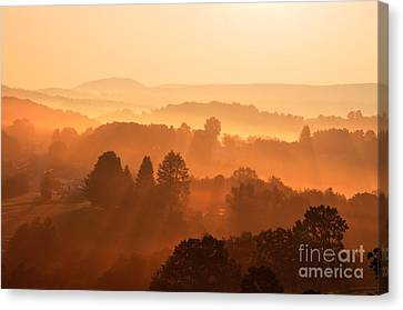 Misty Mountain Sunrise Canvas Print by Thomas R Fletcher
