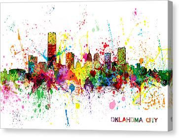 Oklahoma City Skyline Canvas Print by Michael Tompsett