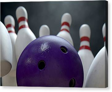 Ten Pin Bowling Pins And Ball Canvas Print by Allan Swart