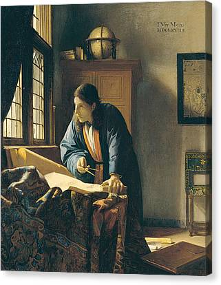 The Geographer Canvas Print by Johannes Vermeer