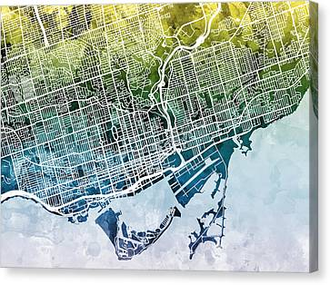 Toronto Street Map Canvas Print by Michael Tompsett