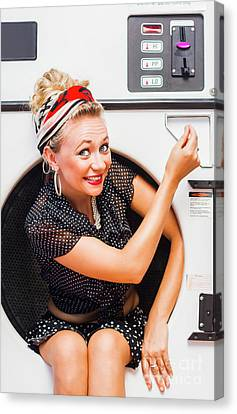 50s Thrifty Cleaning Pinup Canvas Print by Jorgo Photography - Wall Art Gallery