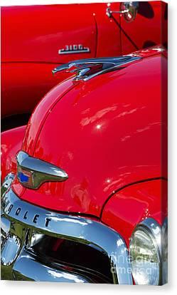 54 Chevrolet Hood Canvas Print by Tim Gainey