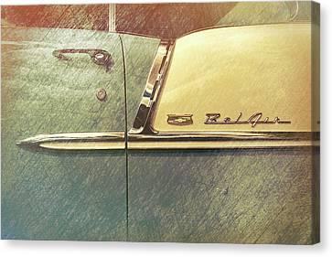 55 Bel Air Door Emblem Canvas Print by Mike Burgquist