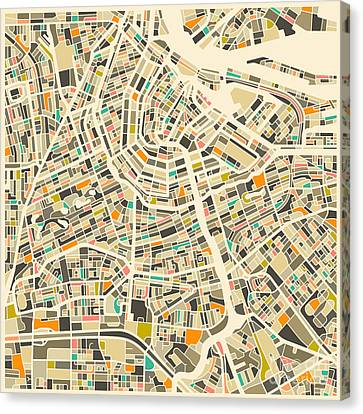 Amsterdam Map Canvas Print by Jazzberry Blue