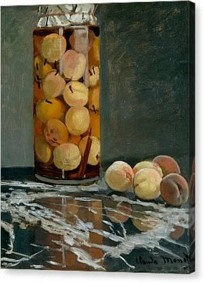 Jar Of Peaches Canvas Print by Claude Monet